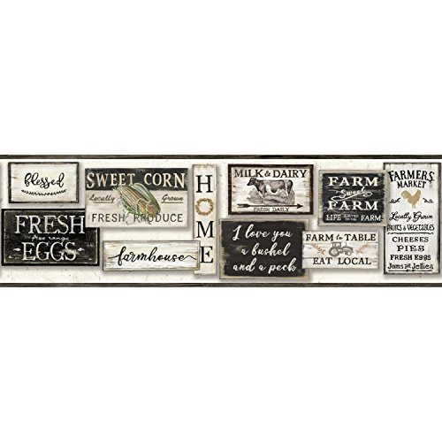 York Wallcoverings Farm To Table Border - Black |Spray with Water and Hang | Ultra Easy
