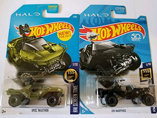 Halo 2 Warthog - Hot Wheels HALO Hw Screen Time UNSC Warthog (Green) & ONI Warthog (Black) - Set of 2!