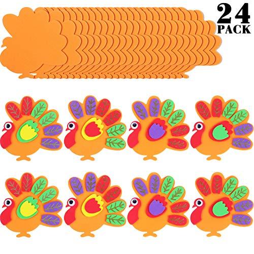 Gejoy Thanksgiving Turkey Craft Turkey Foam Crafts Turkey Party Craft for Thanksgiving Party Favors, Make Up to 24 Turkeys