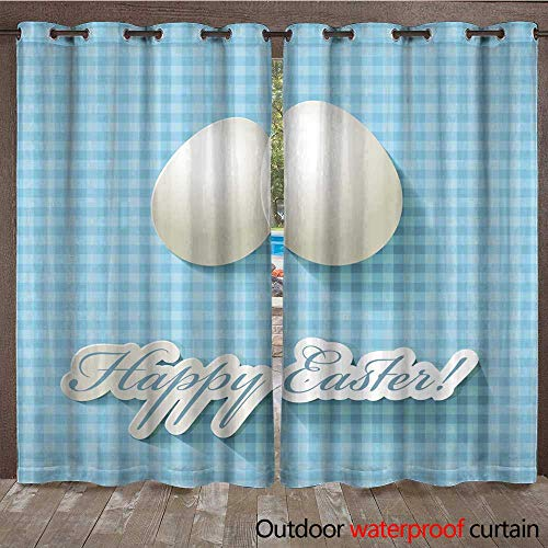 (RenteriaDecor Outdoor Ultraviolet Protective Curtains Happy Easter Scrapbook Postcard Eggs on a Checkered Turquoise Background W72 x L84)