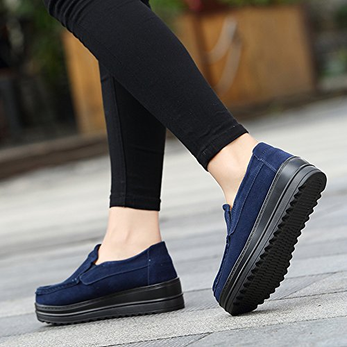 On Platform Blue Sneakers Suede Ezkrwxn Cow Women's Leather Fashion Loafers Shoes Slip 05ZaTwq