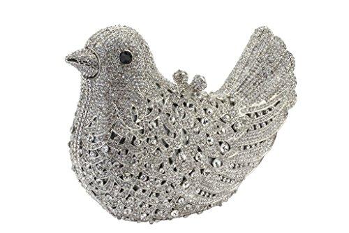 Yilongsheng Frauen Vogel Shaped Abend Partei Geldbeutel mit schillernden Kristall(Silber)