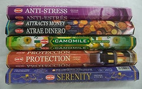Hem Best Seller Incense Stick Set #4: Top 5 x 20 = 100 Sticks Bulk Sampler - Incense Set