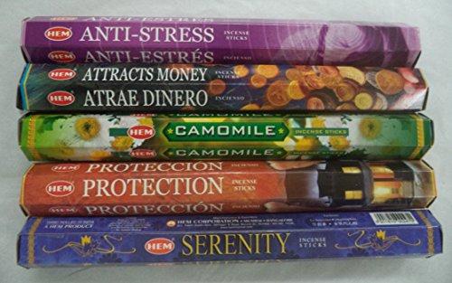 Hem Best Seller Incense Stick Set #4: Top 5 x 20 = 100 Sticks Bulk Sampler (Hem Protection Incense compare prices)