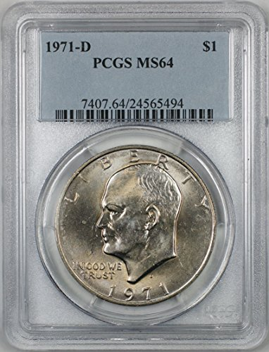 Ms64 Light (1971-D Eisenhower Silver Dollar Coin $1 PCGS MS-64 Light Toning (2A))