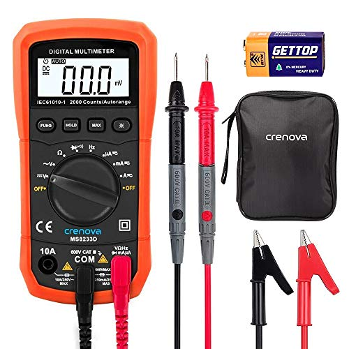 Digital Multimeter, Crenova MS8233D Auto-Ranging Digital Multimeters Electronic Measuring Instrument AC Voltage Detector Portable Amp / Ohm / Volt Test Meter Multi Tester w/ Diode and Continuity Test Scanners Home Use Electronic DIY Hand Tools with Backlight LCD Display ()