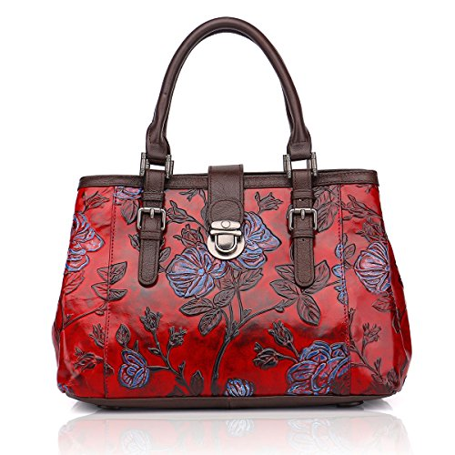 APHISON Designer Unique Embossed Floral Cowhide Leather Tote Style Ladies Top Handle Bags Handbags C817 (RED)