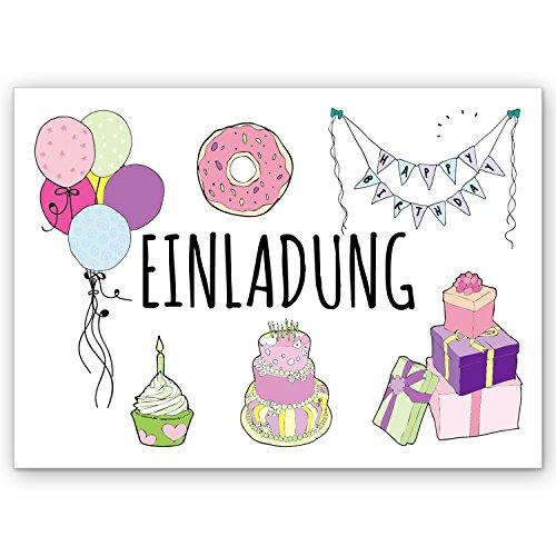 CUPCAKES & KISSES 25er Einladung zum Kindergeburtstag Sparset / Einladungskarten zum Geburtstag / für Kinder, Mädchen & Jungen / lustig