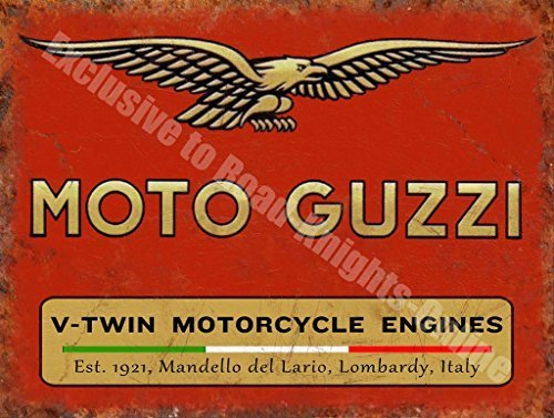 Moto Guzzi V-Twin Motorcycle Engines Vintage Garage Large MetalWall Sign by Alma