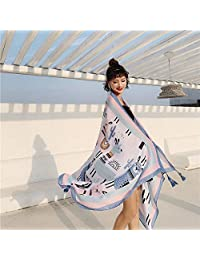 WHXYAA Ms. Scarf, Cotton and Linen Scarves, Printed Gauze, Sunscreen, Silk Scarf, Beach Towel, Female Sunscreen WHXYAA (Color : Beige)