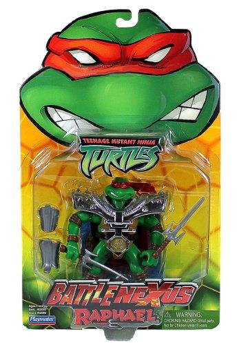 (Playmates Year 2004 Teenage Mutant Ninja Turtles TMNT Battle Nexus Series 5 Inch Tall Action Figure - RAPHAEL with 2 Sais, Samurai Shoulder Pad, Shin Guard and Arm Guard)