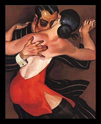 Buyartforless IF JM072Y 20x16 1.25 Black Framed Femme Au Robe Rouge by Juarez Machado 20X16 Art Print Poster Woman in Red Dress Dance Tango Romance Passion Music Sexuality