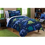 Mainstays Kids Dino Roam Bed in a Bag Bedding Set Comforter, Flat and Fitted Sheets, Pillowcase(s) and Sham(s), TWIN