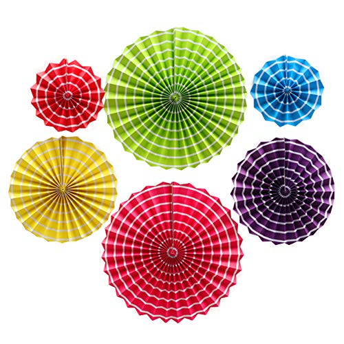 Moohome Striped Colors Hanging Paper Fans Set,Colorful Round Pattern/Paper Garlands for Party/Wedding/Birthday/Festival/Christmas/Event 6pc/Set -