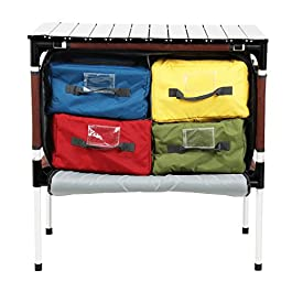 PORTAL Multifunctional Folding Camp Table Aluminum Lightweight Picnic Organizer with Large Zippered Compartment contains…