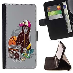 BullDog Case - FOR/HTC Desire 820 / - / Cool Funny Swag Monkey Ape /- Monedero de cuero de la PU Llevar cubierta de la caja con el ID Credit Card Slots Flip funda de cuer