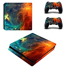 Chickwin PS4 Slim Vinyl Skin Full Body Cover Sticker Decal For Sony Playstation 4 Slim Console & 2 Dualshock Controller Skins (Sky Orange)