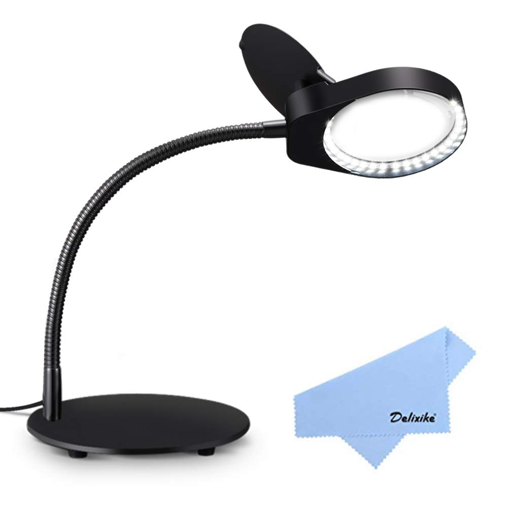 Delixike Magnifying Lamp,3X Magnifying Glass with Light and Stand for Close Work,Reading,Crafts,Workbench - (Black)