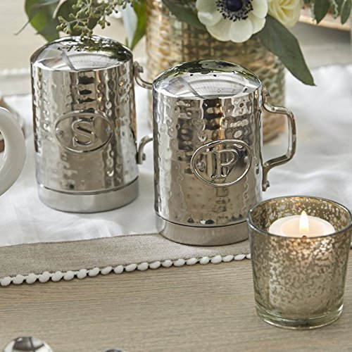 New Kitchen Countertop Hammered Silver Finish Stainless Steel Salt Pepper Shaker by Unknown