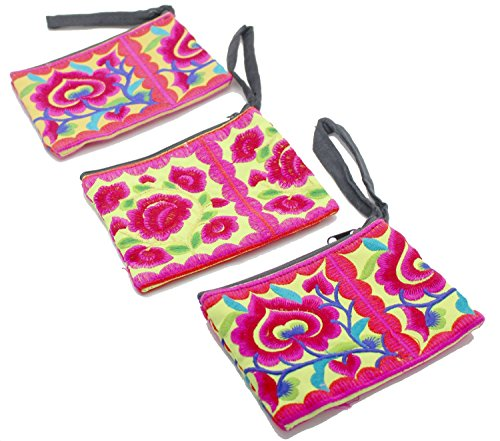 3 Hmong Wallet Bag Hill Tribal Flower Travel Pouch