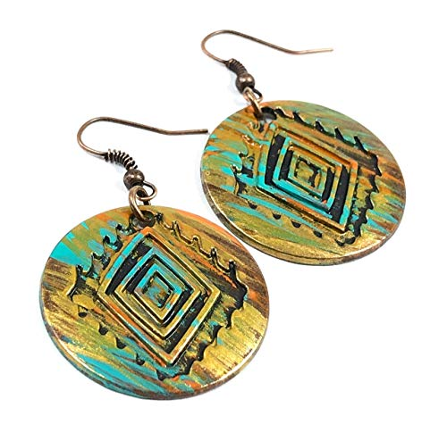 - Hippie Earrings for Women Ethnic Retro Jewelry Gift Ideas Turquoise and Copper