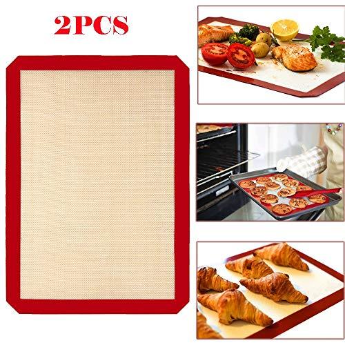 2Pcs Non Stick Silicone Baking Mat Set, Food Grade Non-slip Silicone Pastry Mat, Counter Mat, Dough Rolling Mat,Oven Liner,Fondant/Pie Crust Mat By JDgoods