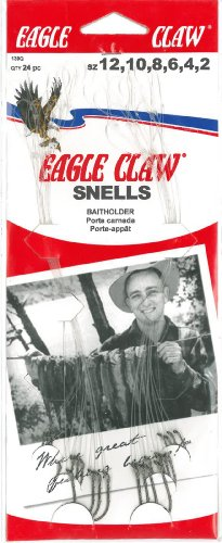 Eagle Claw 139RQH Assorted Baitholder Snell Fish Hook, 24 Piece (Red)