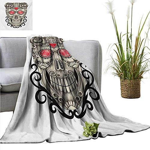 AndyTours Throw Blanket for Couch Day of The Dead,Gothic Love Themed Skull Head with Hearts and Oriental Details Print,Beige and Red Comfortable Soft Material |give You Great Sleep -