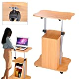 Koval Inc. Rolling Laptop Desk Cart Adjustable Height W Storage (Beech Wood)