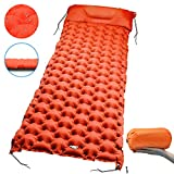 Hiker Era Camping Sleeping Pad 2.7' Thick Inflatable Sleeping Pad with Attached Pillow, Lightweight Sleeping Mat for Hiking, Backpacking & Travel, Carry Bag with Repair Kit Included (Orange)