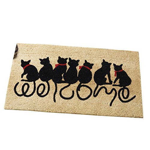 Welcome Kitties Cat Lovers Entrance Outdoor Coco Front Door Mat, Brown - Lovers Welcome Door Mat