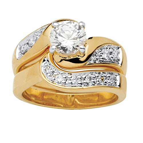 Palm Beach Jewelry 18K Yellow Gold Plated Round Cubic Zirconia Bridal Ring Set Size 8