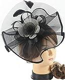 Myjoyday Fascinators Hat for Women Tea Party Headband Kentucky Derby Wedding Cocktail Flower Mesh Feathers Hair Clip (Black & White)