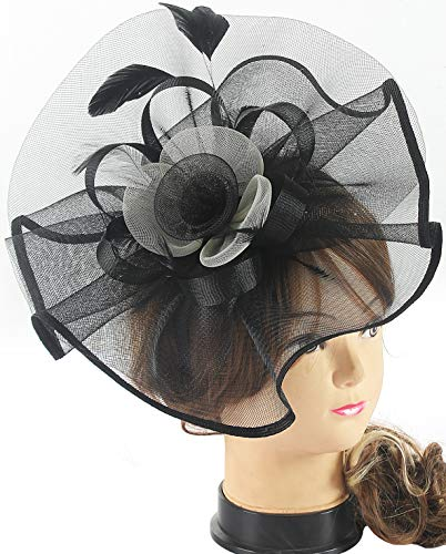 Myjoyday Fascinators Hat for Women Tea Party Headband Kentucky Derby Wedding Cocktail Flower Mesh Feathers Hair Clip (Black & White) by Myjoyday