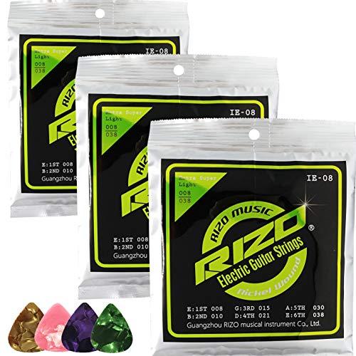 3Set/pack RIZO IE-08 Electric guitar strings Nickel wound 008-038