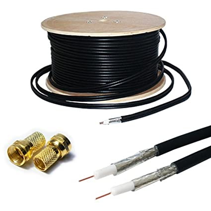 25M RG6 TWIN COAXIAL CABLE & 4x F CONNECTORS - SHOTGUN SATELLITE SKY+/HD FREESAT