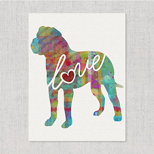 American Bulldog (Bully) Love - Watercolor-Style Print / Poster on Fine Art Paper - Can Be Personalized