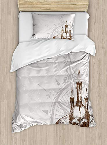 Compass Luxury 4-Piece Bedding Set,Compass with Skull and Candles Spooky Adventure New Pirate Destinations Theme,Duvet Covers Set Duvet Cover Bed Sheet Pillow Cases,Brown Pearl Grey,Twin Pattern