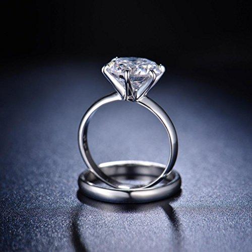 Redfly - Juego de anillos para boda con diamante de circonita cúbica de 2,75K, chapado en oro blanco de 18 k