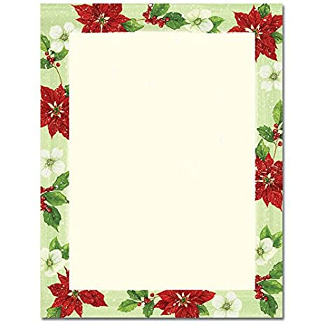 pretty christmas poinsettia and magnolia border holiday computer printer paper 50 sheets