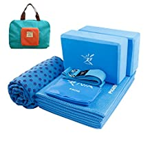 Portable Yoga Mat Kit for Travel 7-Piece Set Bundle Including Foldable Yoga Mat 4mm Thickness, 2 Yoga Foam Blocks, 1 Yoga Strap, 1 Stretch Band, 1 Non-slip Hot Yoga Mat Towel and 1 Handy Carry Bag