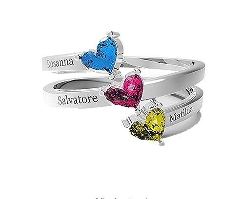 l'atteggiamento migliore b0b8a 63b86 zhaolian888 Anelli personalizzati con nome Incidere 3 nomi e 3 gioielli in  argento Sterling Birthstone cuore per mamma moglie regalo fidanzata