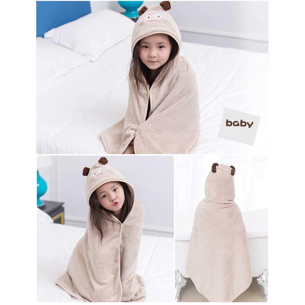 Yiwa Bath Towel Super Absorbent Bathrobe Animal Shaped Hooded Bath Towel Cute Cartoon Towel for Kids