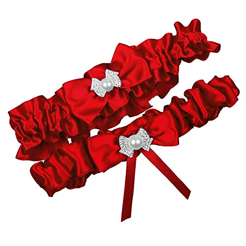 Miranda's Bridal Women's Satin Bridal Garters Wedding Garters with Bow Red