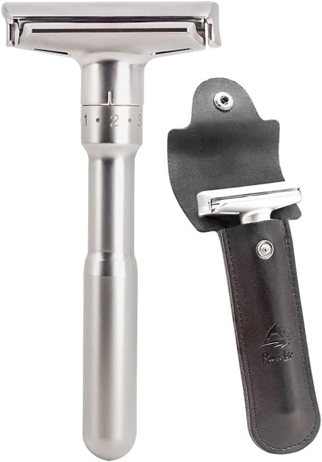Kit de maquinilla de afeitar de seguridad, mangos largos de cromo River Lake de doble filo Razorr de seguridad clásica con conjunto (1 maquinilla de afeitar y 1 pz De cuero genuino)