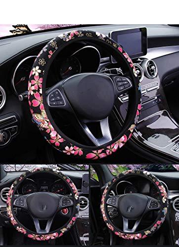 RANXIZY 수제 일본 달콤한 사쿠라 벚꽃 스티어링 휠 커버 여자 유니버설 맞는 탄성 스트레치 자동차 액세서리(블랙)