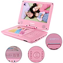 """ZESTYI 9"""" Portable DVD Player for Kids with Car Headrest Mount, 3 Hours Rechargeable Battery, Car Charger, SD Card Slot, USB Port & Swivel Screen (Pink)"""