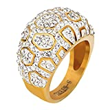 LILILEO Jewelry Titanium Steel Gold Plating Mushroom Geometric Patterns Inlaid White Zircon Ring For Women's Rings