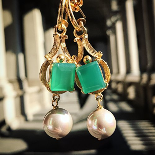 RosJewelry Italian Film Artists Handmade Earrings - Maria de Medici - Green Agate, Silver base with Plated 18k ()