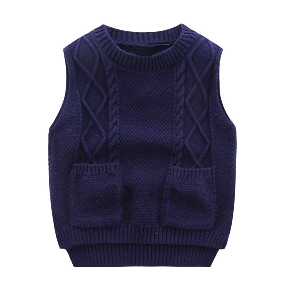Soly Teche Kids Sweater Vests Round Neck School Vests Knit Pullover Sweaters  for Girls Boys Clothing, Shoes & Jewelry Girls
